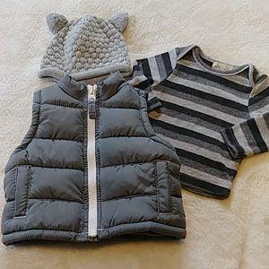 Baby Boy Bundle Old Navy Puffer Vest, Shirt & Cap